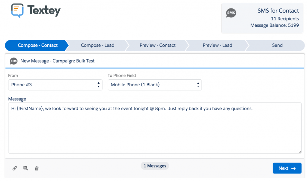 salesforce sms app text from list view