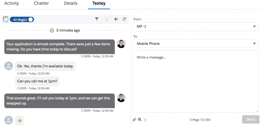 salesforce sms app contextual messenger